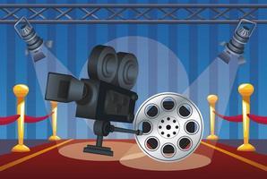 entretenimiento de cine con carrete y cámara vector
