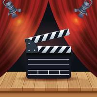 entretenimiento de cine con cortina y claqueta vector