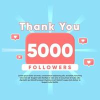 thank you for 5000 Followers vector