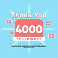 thank you for 4000 Followers vector