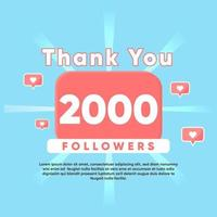thank you for 2000 Followers vector