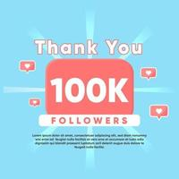 thank you for 100K Followers vector