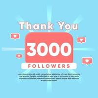 thank you for 3000 Followers vector