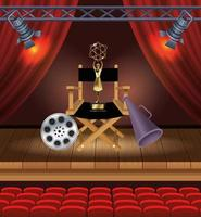 cinema entertainment with director chair and trophy vector