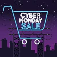 cyber monday sale neon light with shopping cart on the city vector