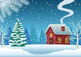 cute house and pine tree in snowscape scene vector