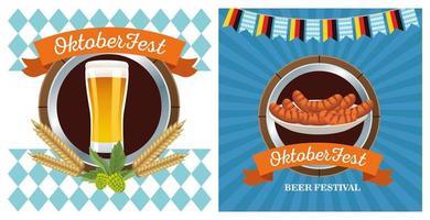feliz celebración de oktoberfest con marcos de cerveza y salchichas vector
