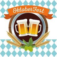 feliz celebración de oktoberfest con cervezas y marco circular de cebada vector
