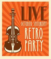retro party music festival lettering poster with cello vector
