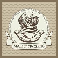 old diver helmet nautical gray vintage emblem vector