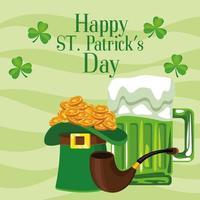 Feliz día de San Patricio cartel de letras con sombrero de copa y cerveza vector