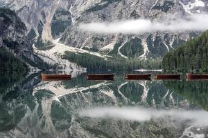 Lago di Braies  Pragser Wildsee South Tyrol  in Italy photo