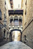 Street in Barcelona city in the daytime  Spain photo