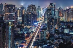 Bangkok downtown by night photo