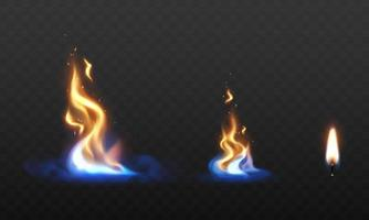 set fire flames Burning red hot sparks realistic abstract background vector