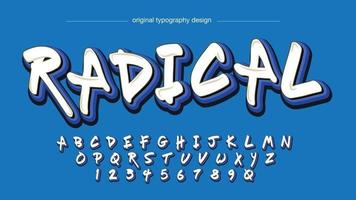 White and Blue Graffiti Typography vector