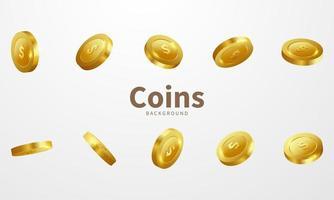 Gold Coins Casino Luxury Set vector