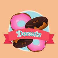 delicious sweet donuts with ribbon frame vector