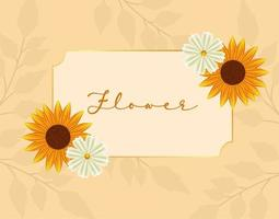 beautiful sunflowers garden in square frame vector