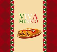 Cartel de restaurante de comida mexicana con letras y burritos. vector