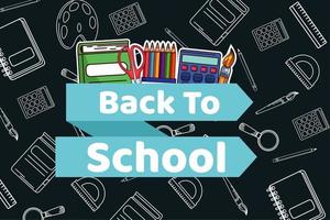 back to school lettering in ribbon with supplies vector