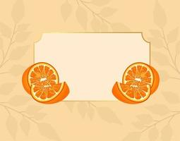 citrus fruit poster with oranges in frame vector