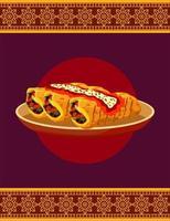 cartel de restaurante de comida mexicana con burritos en plato vector