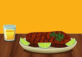 meat beef in dish with lemon food vector
