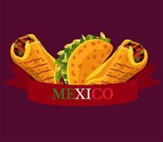Cartel de restaurante de comida mexicana con tacos y burritos. vector