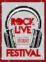 cartel de letras del festival de rock live con auriculares vector