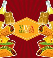 mexican food restaurant poster with lettering and menu frame vector