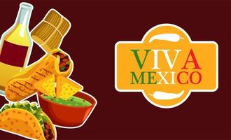 mexican food restaurant poster with lettering and menu vector