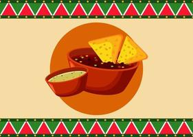 mexican food restaurant poster with nachos and sauces vector