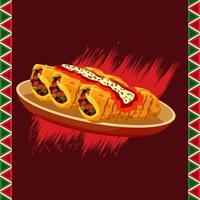 Cartel de restaurante de comida mexicana con burritos en plato y marco vector