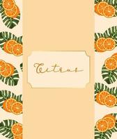 citrus fruit poster with oranges and leafs frame vector