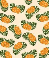citrus fruit poster with oranges and leafs pattern vector