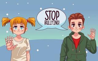Pareja joven con letras de stop bullying en el bocadillo de diálogo vector