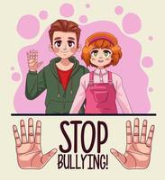 Pareja de jóvenes adolescentes con letras de stop bullying y manos deteniéndose vector