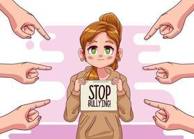 Joven adolescente con letras de stop bullying y manos atacando vector