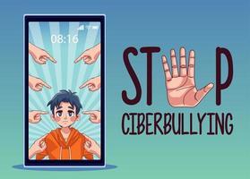 Joven en smartphone con manos acoso atacando y rotulación vector
