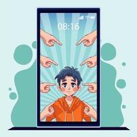 Muchacho joven adolescente en smartphone con manos atacando acoso vector
