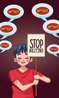 Muchacho joven adolescente con letras de stop bullying en pancarta de protesta vector