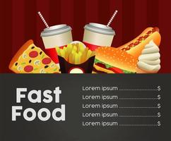 fast food menu template in black and red background vector