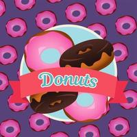 delicious sweet donuts pattern with ribbon frame vector