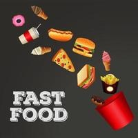 fast food menu template in gray background vector