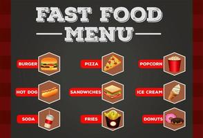 delicious fast food bundle menu with lettering template vector