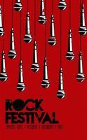 cartel de letras del festival de rock live con micrófonos vector