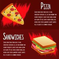 deliciosa plantilla de menú de comida rápida con sándwiches y pizza vector