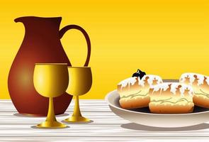 happy hanukkah celebration with sweet donuts and golden chalices vector