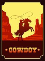 cowboy lettering in wild west scene with cowboy lassoing vector